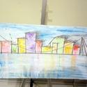 Városkép akvarell farost 50x30cm, Képzőművészet, Festmény, Akvarell, Farostra készített akvarell kép, Meska