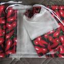Piros paprikás Öko zsákok, NoWaste, Bevásárló zsákok, zacskók , Textilek, Textil tároló, Varrás, Háztartásodban csökkentheted a hulladékot ha ezeket a szép, újrahasználható Öko zsákokat választod...., Meska