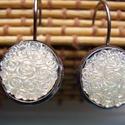 francia kapcsos fekete fülbevaló , Ékszer, Fülbevaló,  Francia kapcsos fülbevaló 12 mm-s gyanta cabochon. , Meska