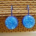 francia kapcsos kék fülbevaló , Ékszer, Fülbevaló,  Francia kapcsos fülbevaló 12 mm-s gyanta cabochon. , Meska