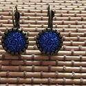 bronz fülbevaló , Ékszer, Fülbevaló,   fülbevaló 10 mm-s gyanta  cabochonnal     , Meska