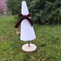 Fehér fenyő, Karácsony & Mikulás, Karácsonyi dekoráció, Mindenmás, Hungarocell alapon, bársonyporral bevont fenyő dísz, amely szalaggal díszessé tehető. Mérete 27,5 cm, Meska
