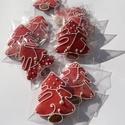 """""""Kiskarácsonyfa"""", Dekoráció, Mézeskalácssütés, Tartalma: 10db!!!  7X 5cm méretű világos piros festett alappal fehér írókával,  egyszerű,játékos mi..., Meska"""