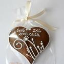 """Esküvőre köszönetajándék,""""Vadvirágos1""""mézeskalács szív, 8-8,5 cm széles mézeskalács szív \""""vadvirágos..."""