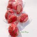 """""""Zöld leveles"""" piros tojás,húsvéti mézes, Dekoráció, Húsvéti díszek, Ünnepi dekoráció, 10db!!! 7x5,5cm  méretű piros festett tojás,zöld levelekkel,fehér díszítéssel (280 Ft/db)  Az ár mag..., Meska"""