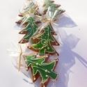 """""""Bolondos""""karácsonyfa,hintázó díszekkel,Honey bread,gingerbread, Dekoráció, Karácsonyi, adventi apróságok, Ünnepi dekoráció, Karácsonyi dekoráció, 5 DARAB!11x9cm méretű zöld  alappal ,fehér írókával,arany cukorgyönggyel díszített karácsonyfa  Nagy..., Meska"""