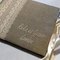 Lenvászon esküvői vendégkönyv (A4) fektetett, Naptár, képeslap, album, Jegyzetfüzet, napló, Fotóalbum, Csipkével díszített lenvászonnal borított bélelt esküvői vendégkönyv felirattal és jelző..., Meska