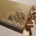Esküvői Vendégkönyv XI., Otthon & lakás, Gyerek & játék, Naptár, képeslap, album, Jegyzetfüzet, napló, Hímzéssel díszített beige tafttal borított bélelt esküvői vendégkönyv szatén szalag megkötővel.  Mér..., Meska
