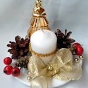 Karácsonyi asztaldísz,adventi koszorú, Dekoráció, Ünnepi dekoráció, Karácsonyi, adventi apróságok, Karácsonyi dekoráció, Porcelán kistányér képezi az asztaldísz alapját.Ezt díszítettem tobozzal ,gyöngyökkel,szalaggal,gyer..., Meska
