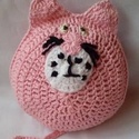 A Rózsaszín párduc horgolt játékfigura, Játék, Játékfigura, Baba játék, Pamut fonalból készült ez a játék,párna,alvóka. Minden része hímzett így egész pici babáknak is bizt..., Meska