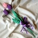 Horgolt tulipán, Dekoráció, Otthon, lakberendezés, Csokor, Ballagás, Horgolás, Tavaszt idéző horgolt tulipán.Rózsaszín és lila fonalból készült. 39 cm hosszú a tulipán fejek 7 cm..., Meska