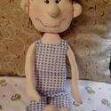 Bence baba, Játék, Játékfigura, Plüssállat, rongyjáték, Ez a kockás nadrágos fiúcska 49 cm magas.Teljes egészében kézzel varrt, erős cérnával kész..., Meska