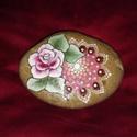Mandala és virága, díszkavics, időjárás álló, kertben, lakásban, ajándéknak, édesanyának, Dekoráció, Otthon, lakberendezés, Dísz, Kerti dísz, Sima, finom fogású dunai  kavicsra festettem ezt a kis rózsát mandalájával.... Finom színek d..., Meska