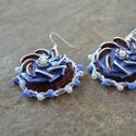 Forgó Kék I. – kapszula fülbevaló, Ékszer, Fülbevaló, A fülbevalót kávékapszulából, fém gyöngysapkából, műanyag gyöngyből, üveggyöngyből és hímző cérnából..., Meska
