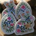 Hímzett húsvéti nyuszi és tojás formájú gyapjúfilc dekoráció, Hímzett húsvéti tojás és nyuszi formájú dek...