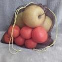 dupla falú tüll zacskó közepes 2, Táska, Szatyor, Kb. 23x24 cm-es dupla falú, egy ponton összehúzható tüll zacskó, zöldség, gyümölcs, vagy m..., Meska