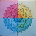 Mandala festmény 5, Dekoráció, Képzőművészet, Kép, Festmény, Feszített vászonra készített mandala, mely keret nélkül is a fal dísze lehet. Vászon mérete..., Meska