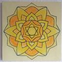 Mandala festmény 1, Dekoráció, Képzőművészet, Festmény, Akvarell, Napfonatcsakra mandala  Feszített vászonra készített akvarell festmény, a mandala akril kontúr..., Meska