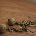 Jupiter Hercegnő, Ékszer, Fülbevaló, Steampunk stílusú drótékszer sárgarézből, fogaskerékből és képjáspisból.  A fülbevaló 5,5 cm hosszú ..., Meska