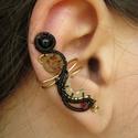 Elegáns hullámok, Steampunk fülgyűrű sárgaréz és fekete éksze...