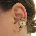 Királyi, Ékszer, Fülbevaló, Steampunk fülgyűrű sárgaréz drótból, fogaskerékből és lila swarovski gyüngyből.  A fülgyűrű tökélete..., Meska