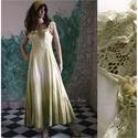 """STELLA - tündér-ruha , Ruha, divat, cipő, Esküvő, Menyasszonyi ruha, Esküvői ruha, Rusztikus kongrés-pamut anyagból készítettem és sávosan, akvarell-technikával festettem ezt az """"erde..., Meska"""