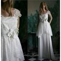 GERTIE - menyasszonyi ruha, Esküvő, Ruha, divat, cipő, Esküvői ruha, Menyasszonyi ruha, Egyszerű vonalú kétrészes menyasszonyi ruha.  A csipketunika rózsamintás szintetikus csipkéből készü..., Meska