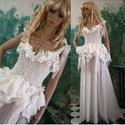 """SWAN - bohém menyasszonyi ruha , Esküvő, Táska, Divat & Szépség, Esküvői ruha, Ruha, divat, Bohém-romantikusoknak: """"Hattyús"""" felső: elasztikus csipke gyűrt-selyem fodrokkal, hozzá körgloknis  ..., Meska"""