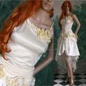 NIOBE - tündérruha, Esküvő, Ruha, divat, cipő, Menyasszonyi ruha, Esküvői ruha, Kézzel festett selyemvirág-rátétekkel díszítettem ezt az erdei-nimfák-ihlette modellem. A felső-rész..., Meska