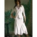 LANCIA - jersey-kosztüm L, Esküvő, Ruha, divat, cipő, Esküvői ruha, Bohém vonalú, romantikus kétrészes:  Csíkosan szőtt, jersey-tapintású szövetből készítettem. A banán..., Meska