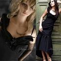 EDINA - elegáns taftruha, Ruha, divat, cipő, Női ruha, Ruha, Estélyi ruha, Testhezálló estélyi ruha fekete gyűrt taftselyemből. Az alja hátul hosszabbra szabott, így a fodor r..., Meska