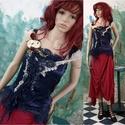 ALKONYAT - exkluzív kollázs design selyem-felső, Egyedi textil-kollázs munkám azoknak a hölgyekn...