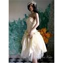 """MIMI - menyasszonyi ruha, Esküvő, Ruha, divat, cipő, Esküvői ruha, Menyasszonyi ruha, Franciás, vajszínű térd alá érő """"királylányos"""" ruha aszimmetrikus díszítéssel.  A pliszírozott tafts..., Meska"""