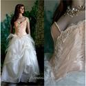 MELBA - menyasszonyi ruha, Esküvő, Ruha, divat, cipő, Menyasszonyi ruha, Esküvői ruha, Gyönyörű romantikus fantáziaruha halcsontos, festett-tüllös, csipkés díszítésű barack-színű gyűrt- s..., Meska