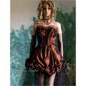 BABÁS - lolita ruha - pin-up style, Ruha, divat, cipő, Női ruha, Ruha, Mini estélyi ruha romantikus, csipkés, tüllös, csoki-barna taftból. Bősége hátul masnival szabályozh..., Meska