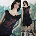 RAJZOS design-ruha, Ruha, divat, cipő, Női ruha, Ruha, Varrás, Mindenmás, Szabadkézi rajzolattal díszítettem ezt a fekete rusztikus selyemből készített taftruhát. A csípővon..., Meska