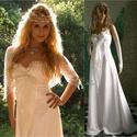 ANGELINA - menyasszony, Esküvő, Ruha, divat, cipő, Menyasszonyi ruha, Esküvői ruha, A vonalú mell alatt vágott ruha viszkóz-szaténból.  A mellet fedő fehér organza: ráncolt- fodros- ma..., Meska