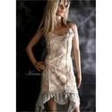 IRINA - koktélruha, Ruha, divat, cipő, Esküvő, Női ruha, Ruha, Enyhén elasztikus, nyomott mintás pamutvászonból készült muszlin-fodros romantikus koktélruha.  Mére..., Meska