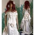 LÉDA-L - menyasszonyi ruha , Esküvő, Ruha, divat, cipő, Menyasszonyi ruha, Esküvői ruha, Extravagáns, két részes, halcsontos-fűzős menyasszonyi ruha nagyobb méretű (jó lábú) menyasszonyokna..., Meska