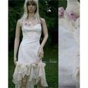 BLANKA - koktélruha, Esküvő, Táska, Divat & Szépség, Esküvői ruha, Ruha, divat, Menyasszonyi ruha, Enyhén elasztikus, nyomott mintás pamutvászonból készült muszlinfodros romantikus koktélruha. Altern..., Meska