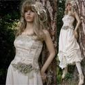 CATHERINA - design ruha, Ruha, divat, cipő, Esküvő, Menyasszonyi ruha, Esküvői ruha, Rusztikus kétrészes ruha.  A felcsipkedett fodros lenvászon szoknyához brokátmintás, szépen szabott,..., Meska