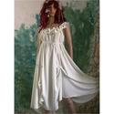 NIMFA - selyemruha , Esküvő, Ruha, divat, cipő, Menyasszonyi ruha, Esküvői ruha, Görögös, istennős libegő selyemruha finom, zöldes árnyalatú matt selyemből. Helyenként felcsippentés..., Meska