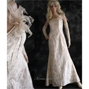 LUISE - taftruha, Esküvő, Ruha, divat, cipő, Menyasszonyi ruha, Esküvői ruha, Vajszínű hímzett gyűrt taftból készült, egyszerű vonalú félvállas elegáns hosszú ruha. A dekoltázs k..., Meska