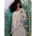 ÁRVÁCSKA - fantázia-mellény XXL - romantikus lagenlook design , Puha, halszálka-mintával szőtt hernyóselyem-bu...