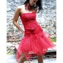 PIRI - menyecske ruha, Ruha, divat, cipő, Esküvő, Női ruha, Menyasszonyi ruha, Ha valami egészen egyedire vágysz:   Szexi tűzpiros kétrészes design-ruha  sok-sok tüllel bodorítva...., Meska