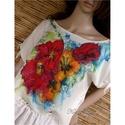 PIPACSOK - festményblúz, Ruha, divat, cipő, Képzőművészet, Női ruha, Textil, Exkluzív kreppselyemből terveztem ezt a rövid, csomózható ujjú blúzocskát. Színes, szabadkézi virág-..., Meska