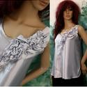 LIA - selyemtop , Ruha, divat, cipő, Esküvő, Női ruha, Blúz, Ha egy igazán különleges darabra vágysz:  Fehérnemű-finomságú szatén-kreppselyemből készült trikó-sz..., Meska