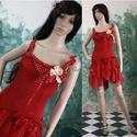 CSINIBABA táncruha, Esküvő, Ruha, divat, cipő, Menyasszonyi ruha, Női ruha, Tűzpiros gumírozott pamutselyem, pöttyös selyem és piros muszlin felhasználásával született szexi fa..., Meska