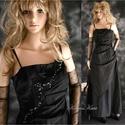 GYÖNGYÖS  estélyi-ruha, Ruha, divat, cipő, Női ruha, Estélyi ruha, Különleges szabású, aszimmetrikus, kényelmes estélyi-ruha fekete taftból, gyöngyözve.  Egyedi darab!..., Meska