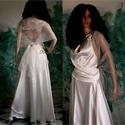 JÚLIA - menyasszonyi ruha, Ruha, divat, cipő, Esküvő, Menyasszonyi ruha, Esküvői ruha, Finom krém-színű szatén-selyem kétrészes szett organza-stólával. Földig érő körgloknis szoknya hát-n..., Meska